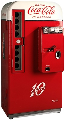 """Coca Cola - Classic round-top, two-tone, Vendo 81 Coke machine. Completely restored, these will hold 9 different kinds of beer, pop, water, etc... Insert 10 cents and the """"Have a Coke"""" insignia lights up."""