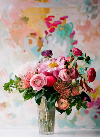 Painterly Flower Arrangement Pink Peach Ranunculus Protea