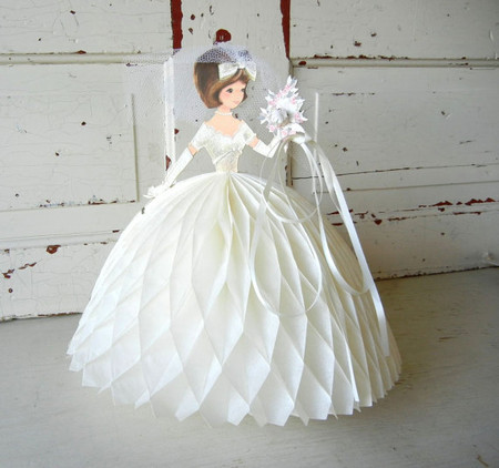 Vintage Honeycomb Bride Centerpiece Decoration with Veil & Bouquet 1960s