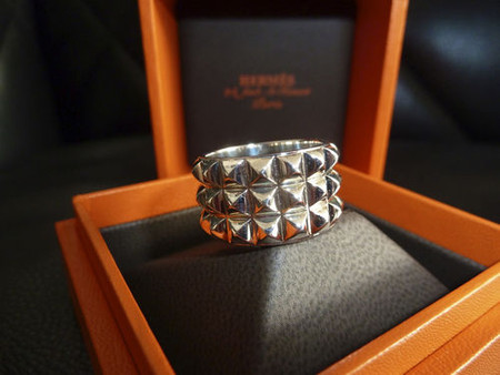 HERMES - solid 925 sterling silver palladium coated CDC ring