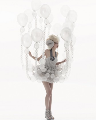 Haute Couture Dress made from Balloons, White