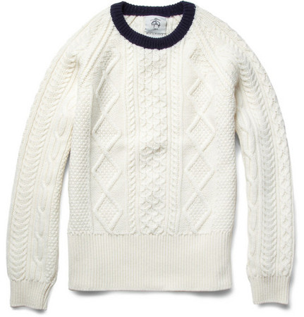 Black Fleece by Thom Brown - Black Fleece Cable Knit Wool Sweater