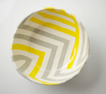 upintheairsomewhere on Etsy - Grey & Yellow Zag Bowl