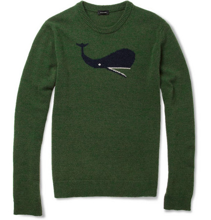 Jil Sander  - Whale Intarsia Camel and Wool-Blend Sweater