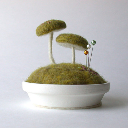 FoxtailCreek - Mossy Floral Mushrooms Pincushion Scene Made To Order