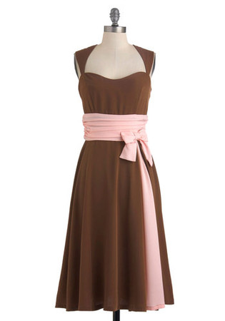 Forever Endeavor Dress by Bettie Page - Long, Brown, Pink, Solid, Bows, Wedding, Party, Empire, Sleeveless, Spring, Vintage Inspired