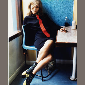 Mario Testino - Kate Moss in Blue Café, 2005 Paper 60.4 x 47.8cm (23 3/4 x 18 13/16in), image 51.9 x 40.5cm (20 7/16 x 15 15/16in)
