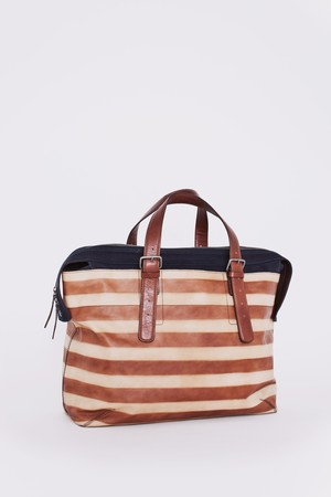DRIES VAN NOTEN - Leather Bag Natural with a crisp brown and beige horizontal pattern.