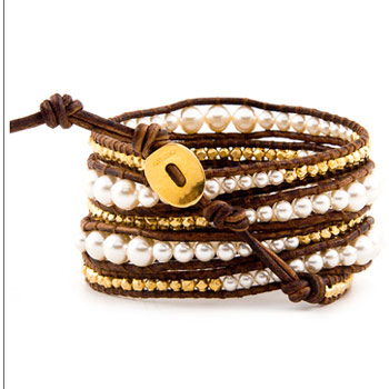 Chan Luu - Cream Pearl Graduated Wrap Bracelet with Gold Vermeil on Natural Brown Leather