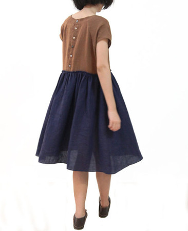 OurLittleDaisy - OurLittleDaisy: Simple Brown Yellow & Dark Blue Contrastcolor Loose Natural Japanese Dress