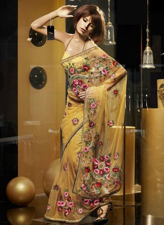 India Emporium - Marvelous Gold Yellow Color Embroidered Saree
