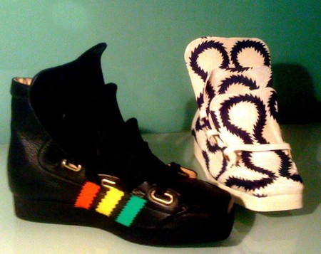 Ancien Collection Malcolm Mclaren - rasta adidas 3 tongue trainer blue squiggle 3 tongue trainer