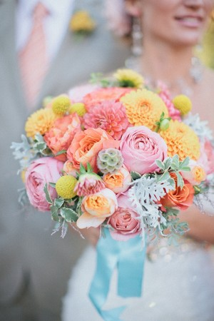 Bright dahlia wedding bouquet