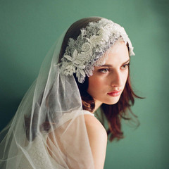 Twigs & Honey - Silk tulle veil with chantilly lace and beaded appliques - Style # 224