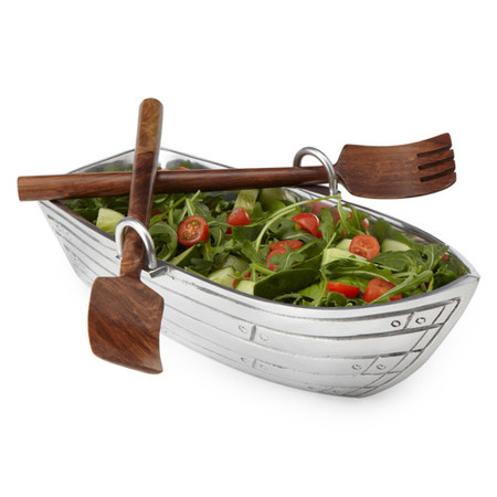 UncommonGoods - Row Boat Salad Bowl with Wood Serving Utensils