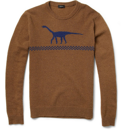 JIL SANDER - Dinosaur Intarsia Camel and Wool-Blend Sweater