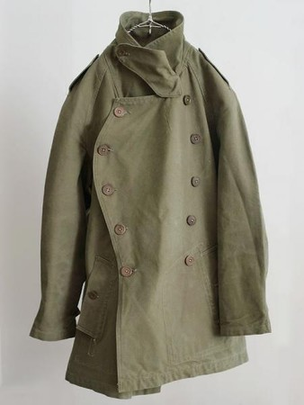 LILY1ST VINTAGE - 1940's vintage french military mortorcycle coat