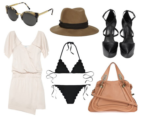 (Retrosuperfuture Lucia sunglasses, Rag and Bone hat, Theyskens' Theory platform wedges, Chloe Paraty bag and bikini, Lover Origami dress)