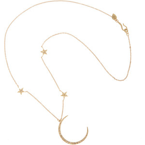 Me&Ro  - Gold & Diamond Crescent Moon & Triple Star Necklace