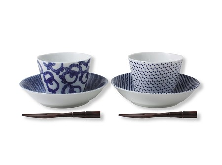 横濱増田窯 - Design & Patten of Edo Cup & Nappy Plate + Small Wooden Fork - Pair Set