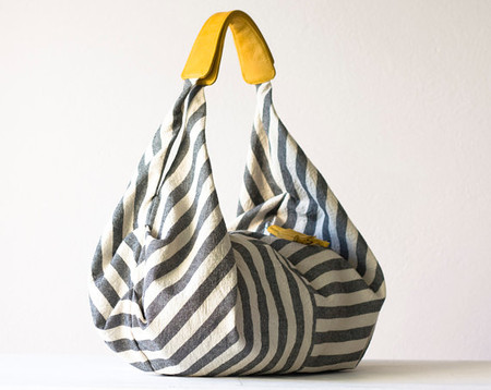 milloo - Kallia in Striped canvas and Yellow leather details
