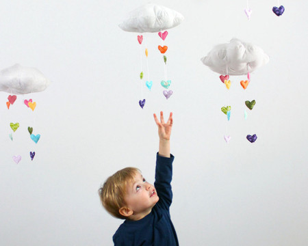 BabyJivesCo - Showered with Love - Heart Rainbow Cloud Mobile