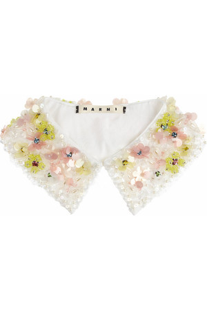 MARNI - Embellished cotton-poplin collar
