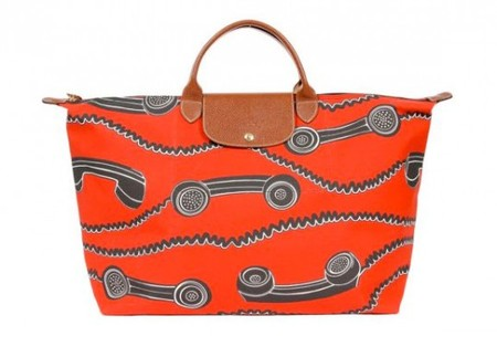 "LONGCHAMP - x Jeremy Scott ""Phone Print"" Pliage Bag"