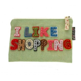 Disaster Designs - I  Like Shopping Zip Fabric Purse (Green)