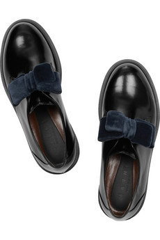 MARNI - Velvet-bow glossed-leather brogues