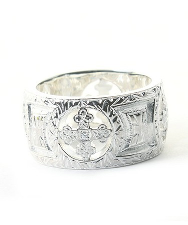 Loree Rodkin - engraved wide band w/4 stones etched gothic cross rounds/リング