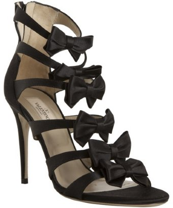 VALENTINO - style #315641801 black satin bow detail strappy sandals