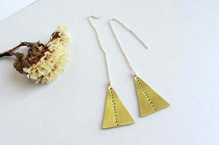 lunahoo - Brass triangle earrings, Sterling silver  - Geometric jewelry