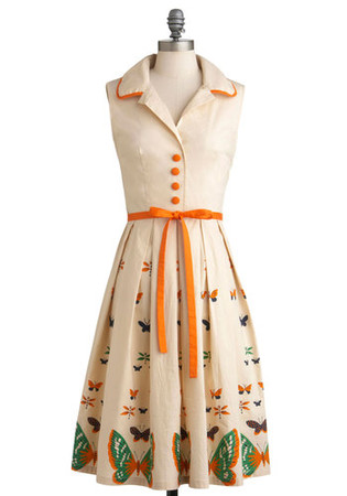My Bread and Butterfly Dress by Bettie Page - Long, Cream, Orange, Print with Animals, Buttons, Pleats, Party, A-line, Shirt Dress, Sleeveless, Spring, Belted, Vintage Inspired