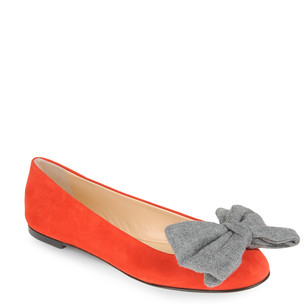 Giuseppe Zanotti Design - Red suede ballerina pumps with a maxi bow in gray cloth