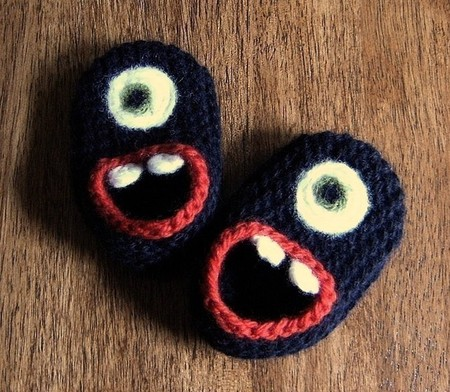 Wool Monster Slippers, size 3, 6 or 12 months - Wool Monster Slippers, size 3, 6 or 12 months