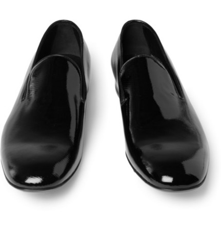 Yves Saint Laurent  - Textured Patent-Leather Loafers