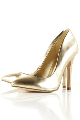 TOPSHOP - GAME Metallic Pointed Court Shoes