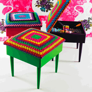 Rice DK Crochet Covered Stools - plumo crochet stool