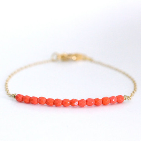 ayofemi jewelry - Beaded Bar Bracelet - Coral