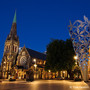 Cathedral Square, Christchurch, Canterbury, New Zealand -  stock photography | ChristChurch Cathedral and The Chalice at Night, Cathedral Square, Christchurch, Canterbury, New Zealand, Image ID NZ-CHRISTCHURCH-0001