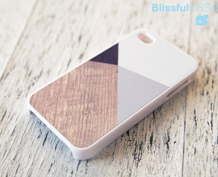 iphone 4 case - grey color block with printed wood