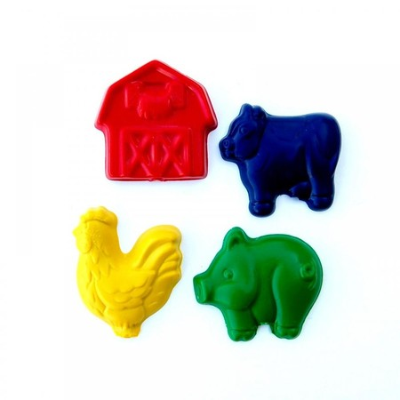 Luulla - Farm Party Favors - Package of 12 Farm Animal Barn Shaped Crayons