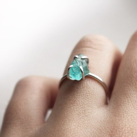 Sterling Silver Organic Blue Apatite Ring  - Sterling Silver Organic Blue Apatite Ring