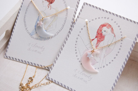 a cloudy dream - candy necklace moonly star PINK