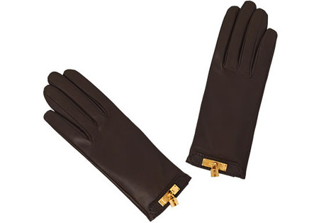 HERMES - gloves with Kelly (lambskin&silk)