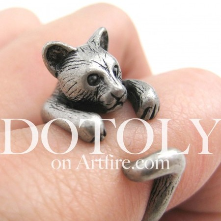 3D Kitty Cat Animal Ring in Silver - Sizes 5 to 9 Available