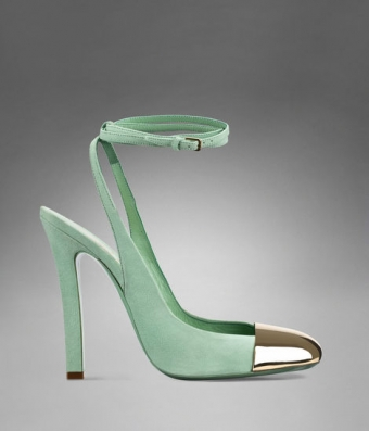 Yves Saint Laurent -  ◆ Yves saint laurent ◆Ingenue High Heel Ankle Strap in Pale Green Suede & Brass 1