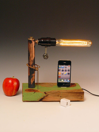 Lin Mullins - iPhone dock AND table lamp. Recycled wood & copper pipes. Edison bulb. USB wall charger. 210