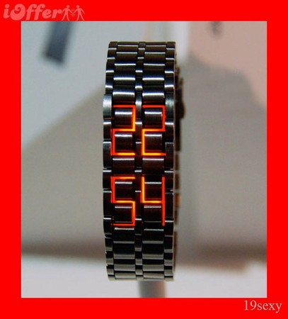 Red LED Black Iron Samurai Lava Style Mens LED WATCH